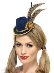 Mini cappello blu e oro con piume donna Festa della birra