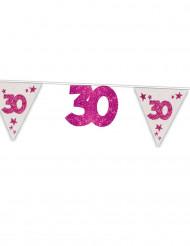 Ghirlanda bandierine 30 anni rosa 6 m