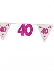 Ghirlanda rosa a paillette 40 anni 6 m