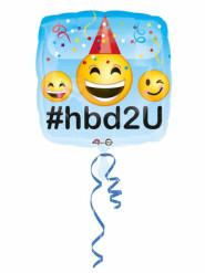 Palloncino alluminio Happy Birthday Emoji 43 cm