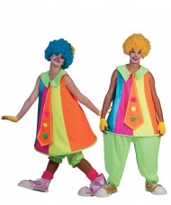 Costume coppia clown fluo adulti