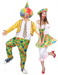 Costume coppia clown a pois adulti
