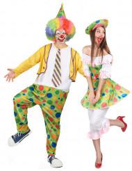 Costume coppia clown a pois adulti