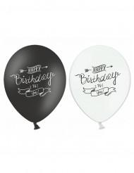 6 palloncini neri e bianchi Happy Birthday 30 cm