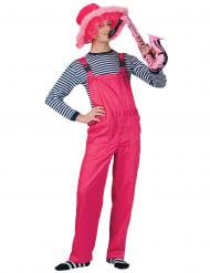 Costume tuta rosa fluo adulto