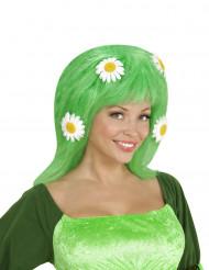Parrucca verde con margherite per donna