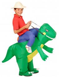 Costume da esploratore sul dorso di un dinosauro per bimbo