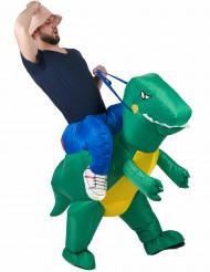 Costume da esploratore sul dorso di un dinosauro per adulto