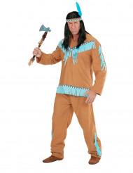 Costume indiano marrone e blu Adulto