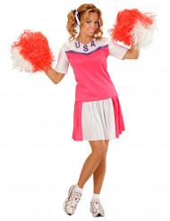 Costume ragazza pompom bianco e rosa Donna