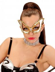 Mascherina veneziana argentata con borchie per donna