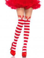 Collants a righe rosse e bianche piccola renna per donna Natale