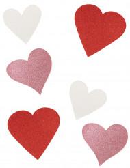 6 Decorazioni in cartone a cuore con brillantini