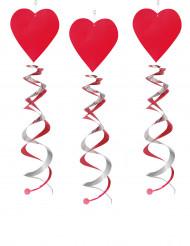 3 Decorazione spirale cuore rosso