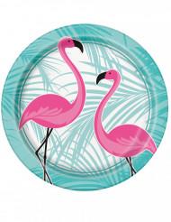 8 piatti di cartone Fenicottero rosa