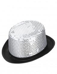 Cappello a cilindro argentato a paillette contorno nero adulto