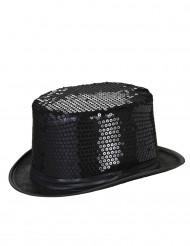 Cappello a cilindro nero paillettes adulto