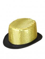 Cappello a cilindro dorato a paillette contorno nero adulto