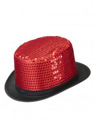 Cappello cilindro rosso con lustrini adulto