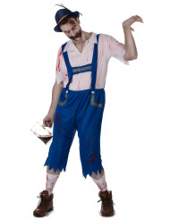 Costume bavarese zombie blu da uomo