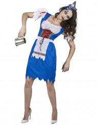 Costume da bavarese Zombie Blu donna