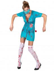 Costume infermiera zombie azzurro per donna