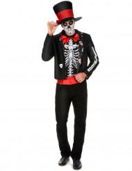 Costume scheletro con motivi Dia de los Muertos uomo