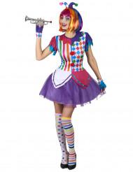 Costume da Arlecchino con pompon colorati per donna