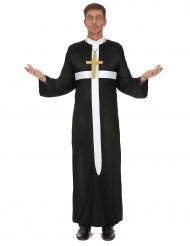 Costume da prete con croce bianca per adulto