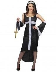 Costume da suora sexy con croce bianca per donna