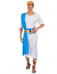 Costume da Imperatore greco bianco e blu per uomo