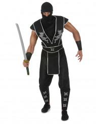 Costume da ninja nero argento per uomo