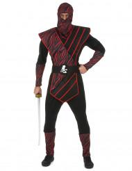 Costume da ninja nero e rosso per uomo
