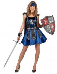 Costume da cavaliere medievale con stemma leonino oer donna