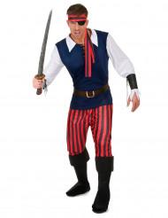 Costume pirati a righe rosse e nere uomo