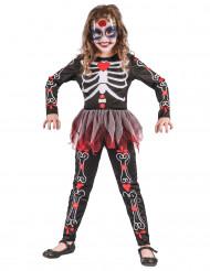 Costume da scheletro a fiori per bambina