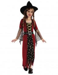 Costume strega bordeaux e oro per bambina