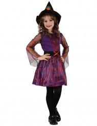Costume streghetta viola con ragnatele per bambina