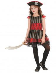 Costume da piccola pirata rossa e nera per bambina