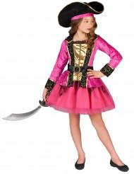 Costume pirata bambina rosa e oro