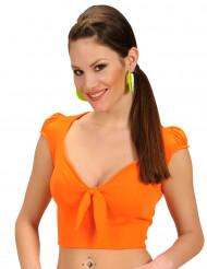 Top arancione sexy con nodo per donna