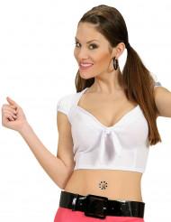 Top bianco con nodo sexy per donna