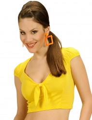 Top giallo con nodo per donna