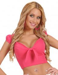 Top rosa con nodo sexy per donna