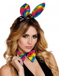 Orecchie e farfallino coniglio colorati adulto