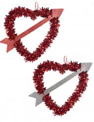 Cuore rosso con freccia San Valentino 27 x 33 cm