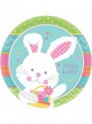 8 piatti in cartone Coniglio di Pasqua 23 cm