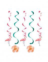 5 Decorazioni da appendere spirali fenicotteri rosa