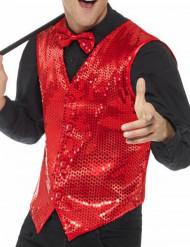 Gilet rosso con paillettes adulto