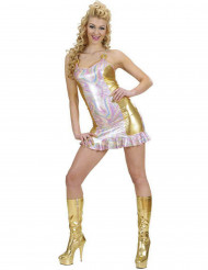 Costume disco olografico multicolore e oro donna